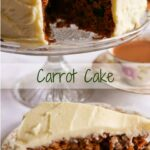 Carrot Cake on a glass cake stand with a piece on a flowered plate