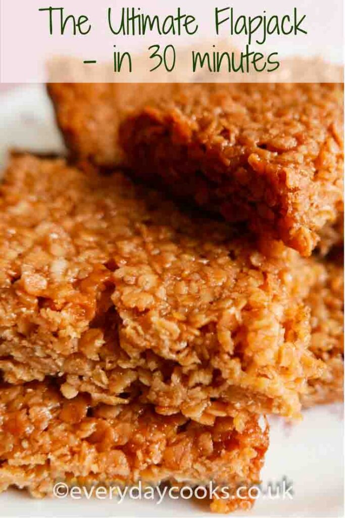 Flapjack slices on a plate