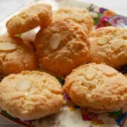 Almond Macaroons on a patterned plate