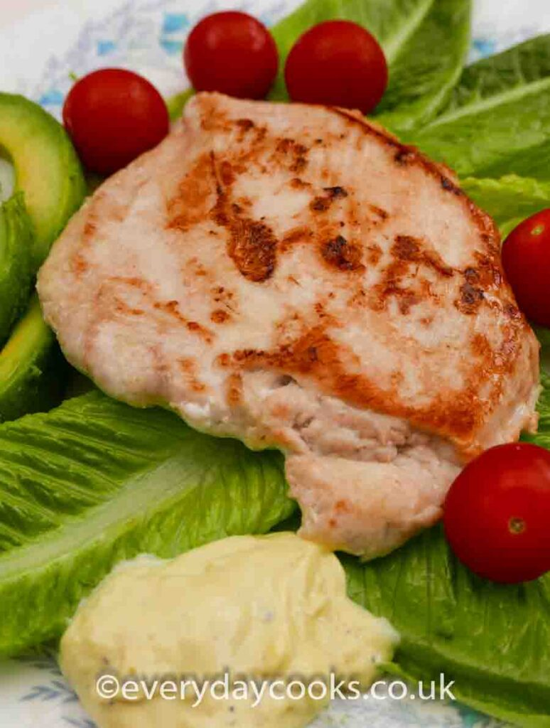 10 minute pan-fried chicken served with salad and lashings of home-made mayonnaise.