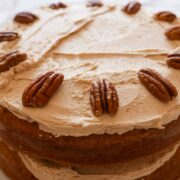 Coffee cake with coffee buttercream and pecans