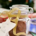 Spiced hot chocolate mix in a glass jar