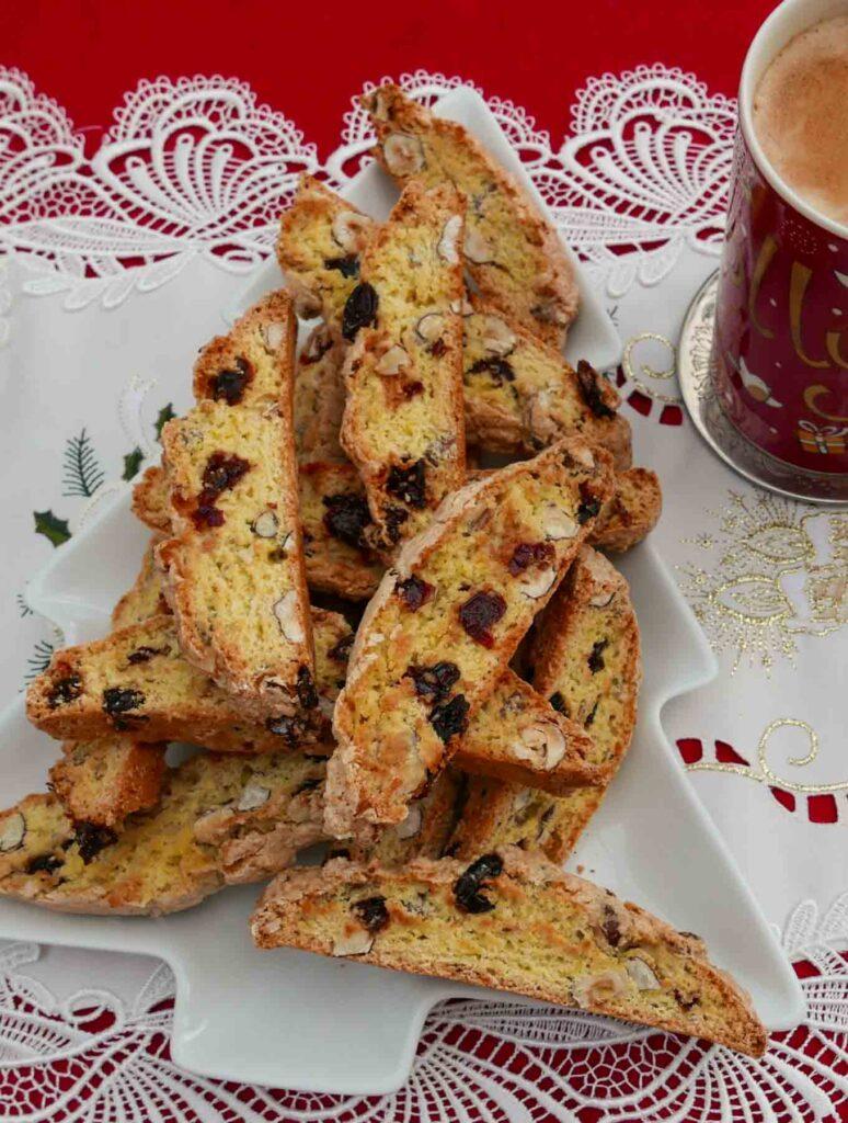 Cranberry and Hazelnut Biscotti on a white plate