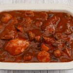 Cranberry Chicken Casserole for four people in a rectangular dish