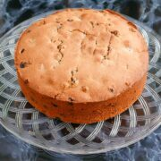 Christmas Cake on a glass plate waiting to be decorated