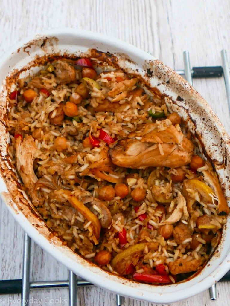 Moroccan Chicken in one pot. Chicken, chick peas, rice based on Basic Chicken Casserole.