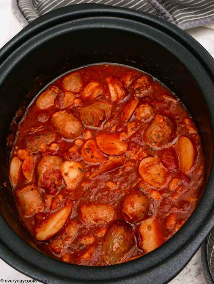 Slow Cooker Sausage Casserole in the dish
