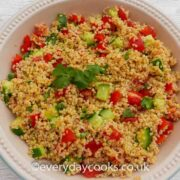 Cracked Wheat Salad in a serving dish with fresh herbs