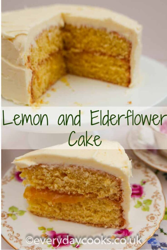 Lemon and Elderflower Cake on a white cakestand with a piece on a flowered plate