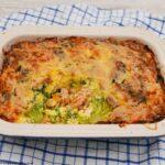 Salmon and Broccoli Bake in a gratin dish