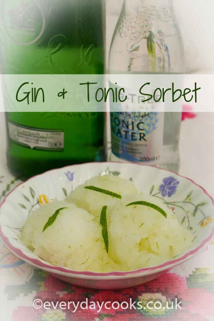 Gin and Tonic Sorbet in a bowl with shards of lime peel and bottles of gin and tonic.