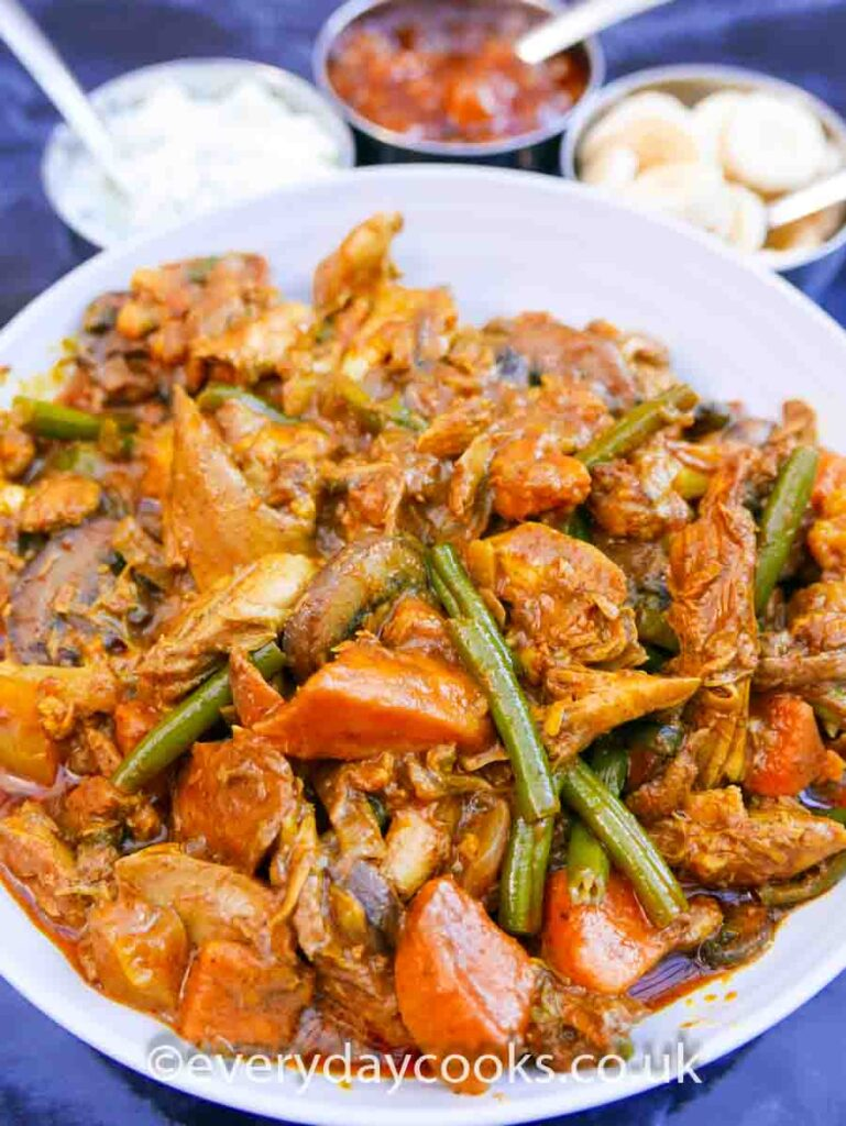 Easy Chicken Curry in a white dish