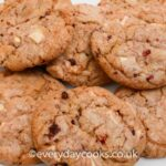 White Chocolate & Raspberry Cookies on a white plate