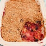 A dish of Blackberry and Apple Crumble