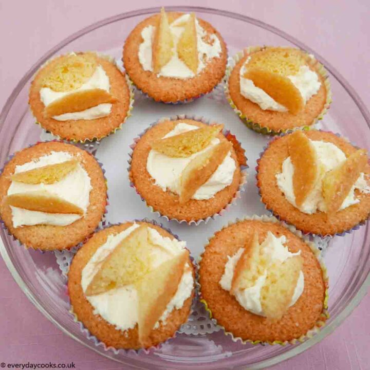 Butterfly Cakes on a glass plate
