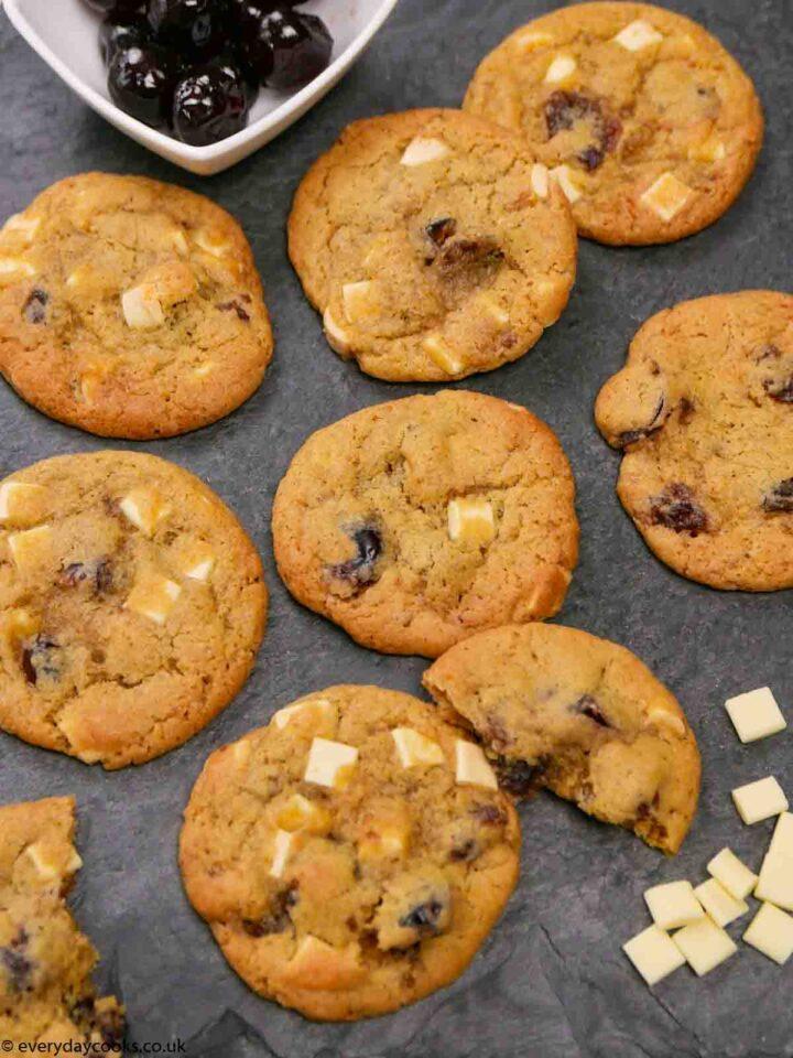 Chocolate Cherry Cookies on a slate tray
