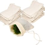 2 piles of muslin bags with a bag of herbs