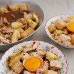 Pytt i panna with and egg yolk ready to eat