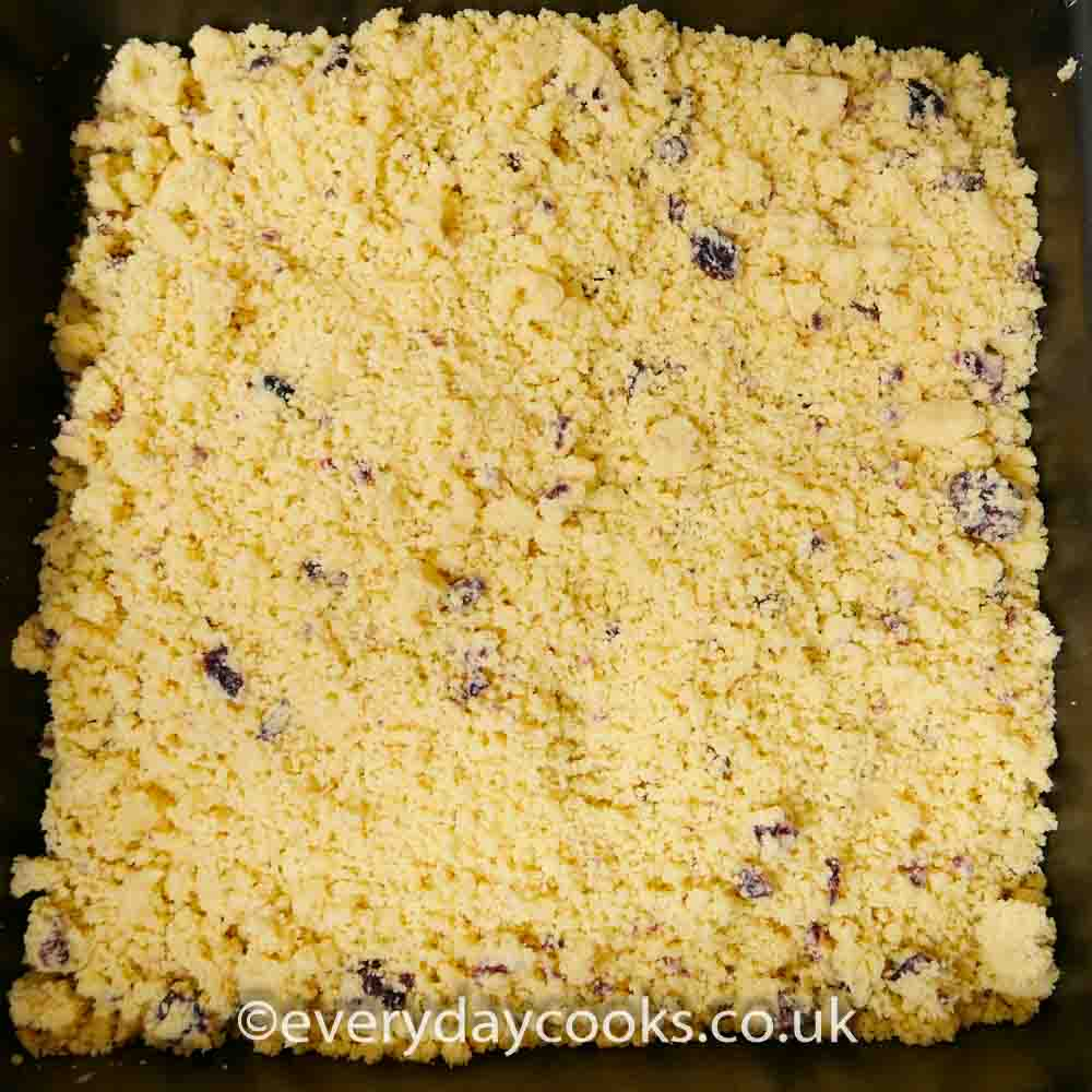 Christmas Shortbread mixture in the tin