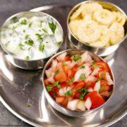 3 Easy Indian accompaniments - Raita, Banana Sambal, Onion & Tomato Salad.