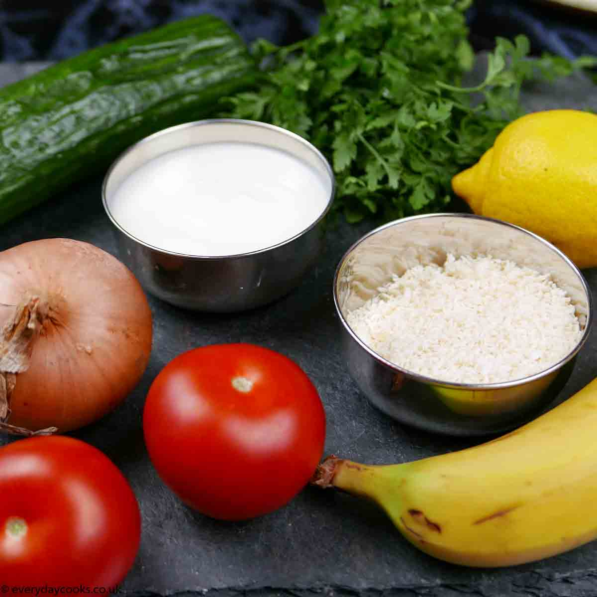 Ingredients for 3 Easy Indian accompaniments