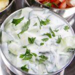 Cucumber Raita in a metal bowl