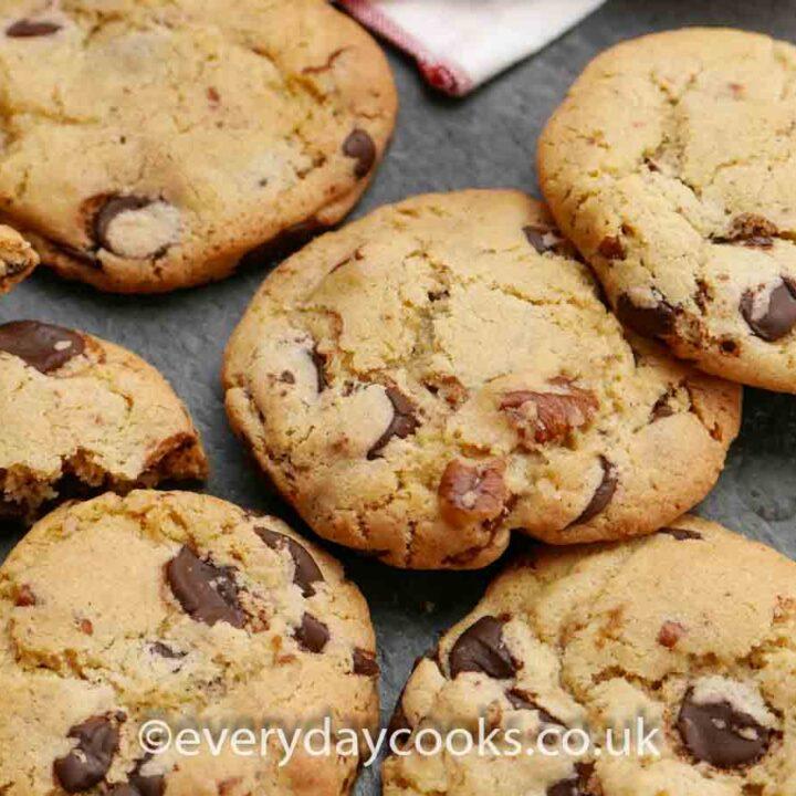 Pecan Chocolate Chip Cookies on a slate