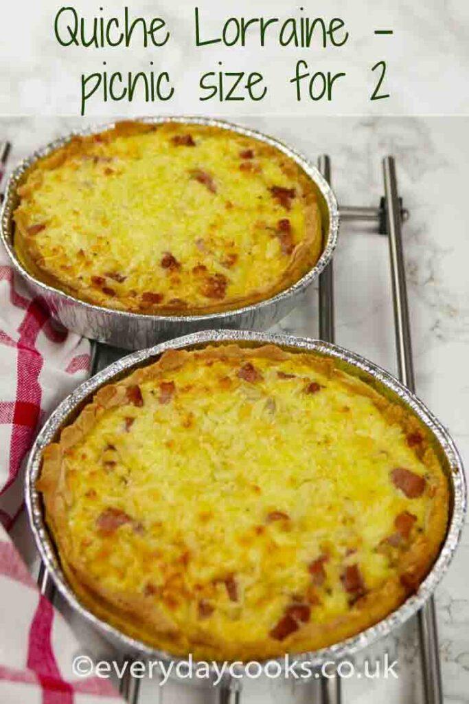 2 small foil dishes of Quiche Lorraine
