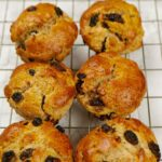 Wholemeal Fruit Scones on a wire cooling rack.