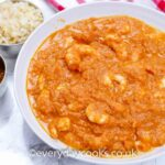 Easy Thai Prawn Curry in a dish with rice and chutney