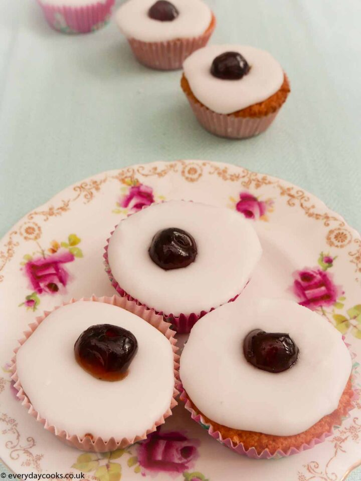 Cherry Bakewell Cupcakes on a plate
