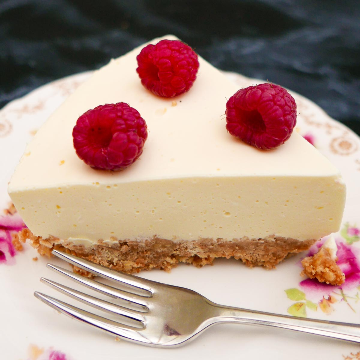 Slice of Easy Lemon Cheesecake with fork.