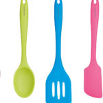 Brightly coloured silicone kitchen utensils