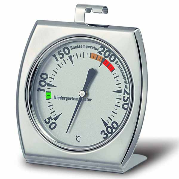 White metal oven thermometer