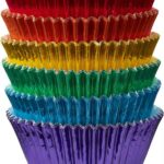 Metallic cupcake cases in rainbow colours