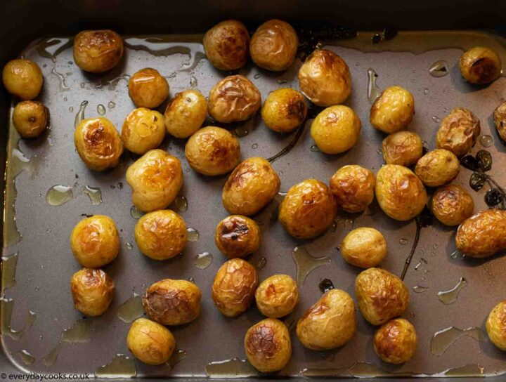 Potatoes after roasting for Easy Cod Traybake