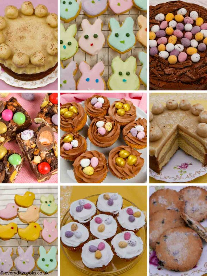 Selection of cakes and cookiSelection of traditional and modern cakes and cookies for Easter #everydaycooks #eastercakes #easterbiscuits