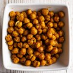 Spicy Roasted Chickpeas in a white bowl