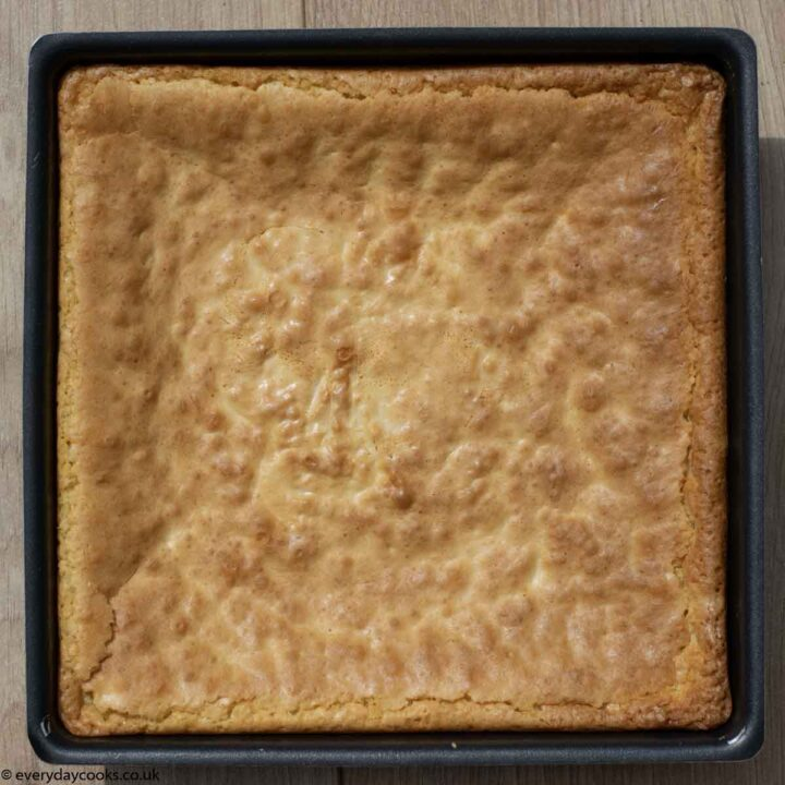 Uncut White Chocolate Brownies in the tin
