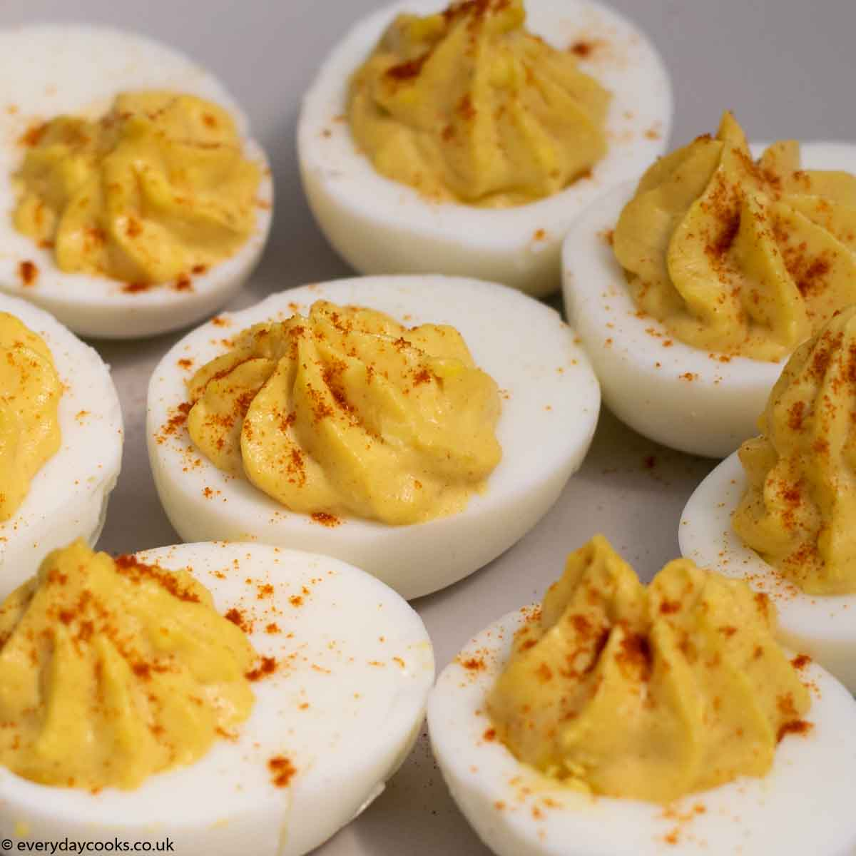 Plate of devilled egg halves