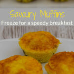 3 Breakfast Savoury Muffins on a white plate with more muffins in the background