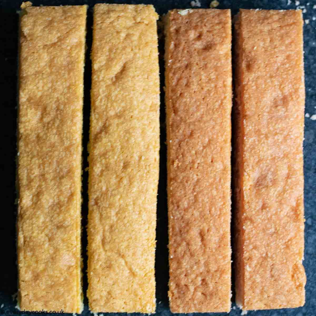 4 cakes ready to be assembled into Easy Battenberg Cake