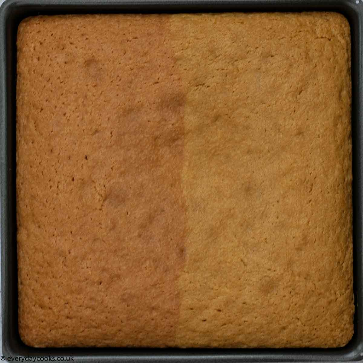 Easy Battenburg Cake in the tin after baking