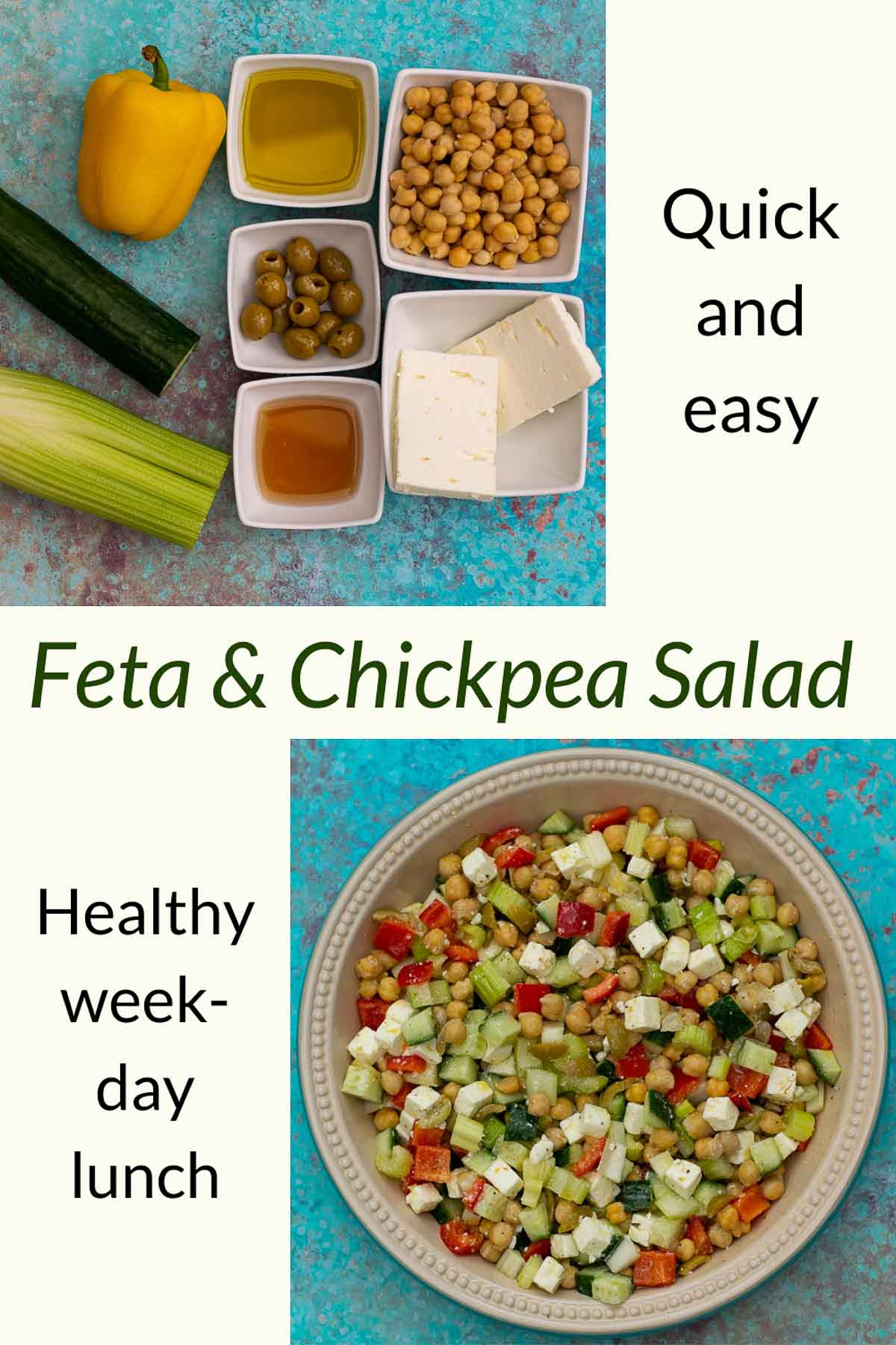 Feta Chickpea Salad with ingredients on a blue background