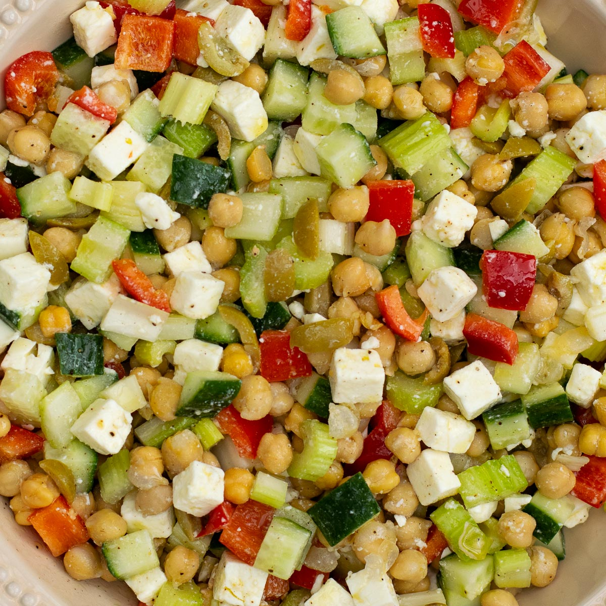 Close up of Feta Chickpea Salad